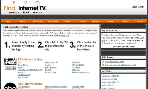 find internet tv