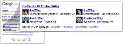 Les résultats Google Me en bas de page
