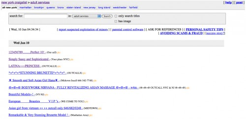 La page Adult de Craiglist à NY