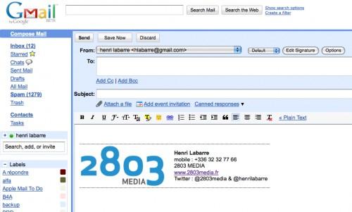 Ma signature html dans gmail