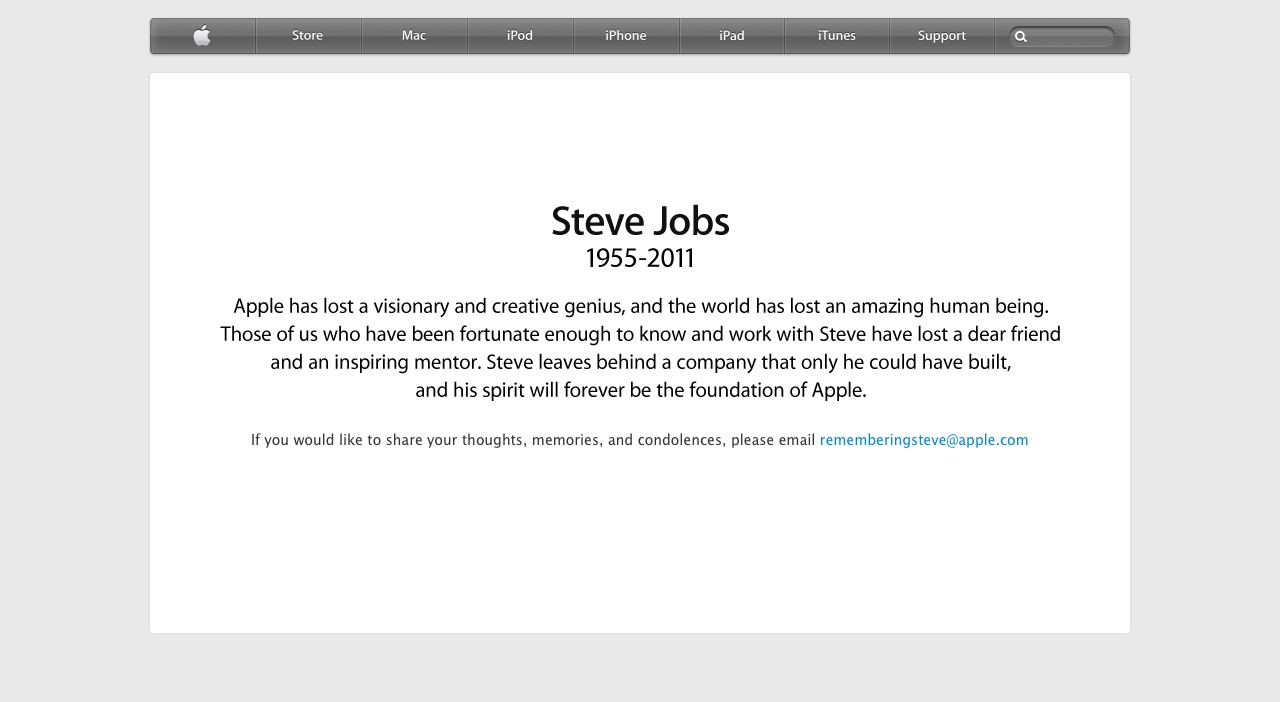 Apple - Remembering Steve Jobs