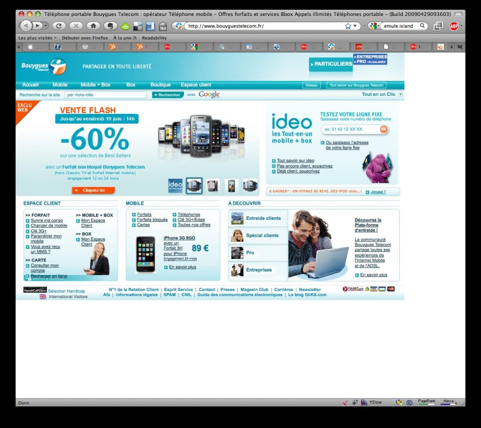 Homepage de Bouygues